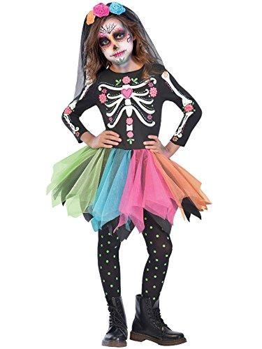 Amscan: Mexikanischer-Zuckerschädel-Kostüm für Mädchen (Rock Of The Ages Kostüm)