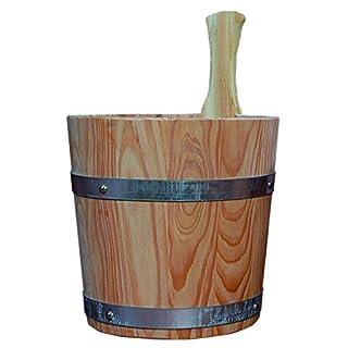 Achleitner Sauna Aufgusskübel aus PEFC zertifizierten Lärchenholz 5Liter mit Kunststoffeinsatz