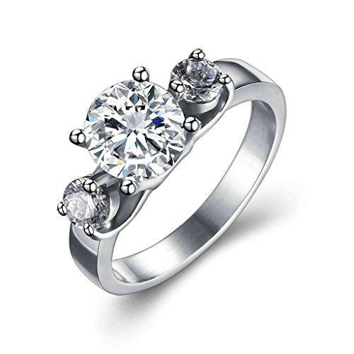 Epinki Donna Acciaio Inossidabile Anello Anelli Tre Zirconia Cubica Matrimonio Promessa Misura 20