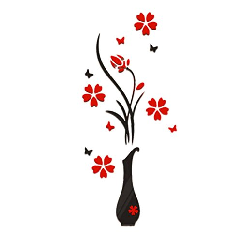 Upxiang 3D Blume Baum Romantische Kristall Vase DIY Wandaufkleber Acryl Wand Tatoo Halle Wohnzimmer Schlafzimmer Aufkleber Wohnkultur (B) (Baum Vase)