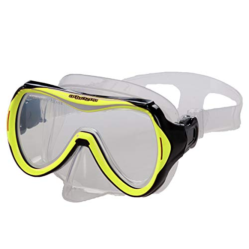 AQUAZON Maui Junior Medium Schnorchelbrille, Taucherbrille, Schwimmbrille, Tauchmaske für Kinder, Jugendliche von 7-14 Jahren, Tempered Glas, sehr robust, tolle Paßform, Farbe:gelb