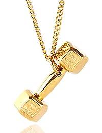 StayClear - Collar unisex de titanio chapado en oro de 18 quilates con colgante de mancuerna