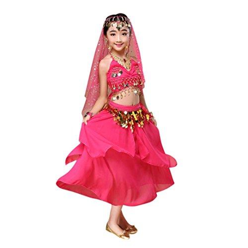 Neckholder Bauchtanz-outfit (Hunpta Kinder Mädchen Bauchtanz Outfit Kostüm Indien Tanzkleidung Top und Rock (120~135cm, Hot Pink))