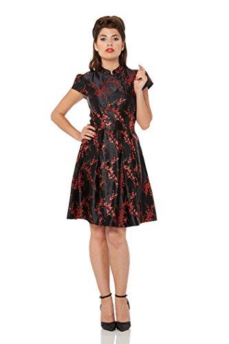 Voodoo Vixen Damen Kleid Oriental Kirschblüten Retrokleid Schwarz S