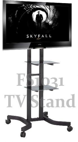 FS1031 meuble TV plancher du chariot avec support de montage pour écrans LCD / Plasma & deux étagères en verre noir