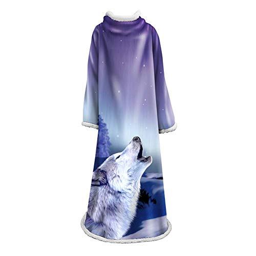 Kostüm Wearable - NICEWL TV Lazy Robe Plüsch Ärmel Decke-Winter Wearable Blanket Kostüm, Super Soft Warm Comfy Arm, Haushalt Bademantel Frauen Männer Adult, A