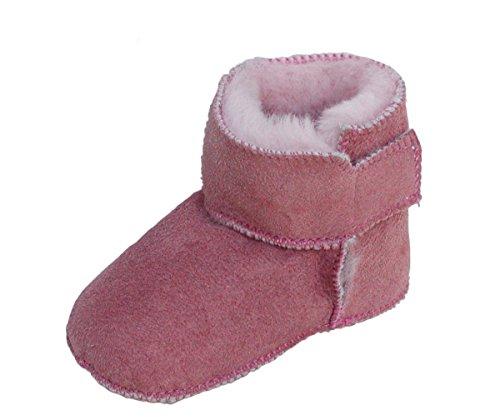 Heitmann Warme Baby Lammfell Boots mit Klettverschluss Rosa, Gerbung Ohne schädliche Stoffe, Gr. 18-19