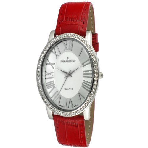Peugeot Women's Silver-Tone Crystal Oval Red Leather Strap Watch