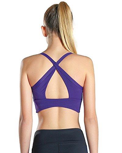 Motorun Damen Sport BH Cami Gepolsterte Harness mit Brustkorb Schwarz Lila 077-Violett