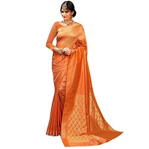 Craftsvilla Women's Silk Traditional Zari Border Peach Saree with Blouse Piece