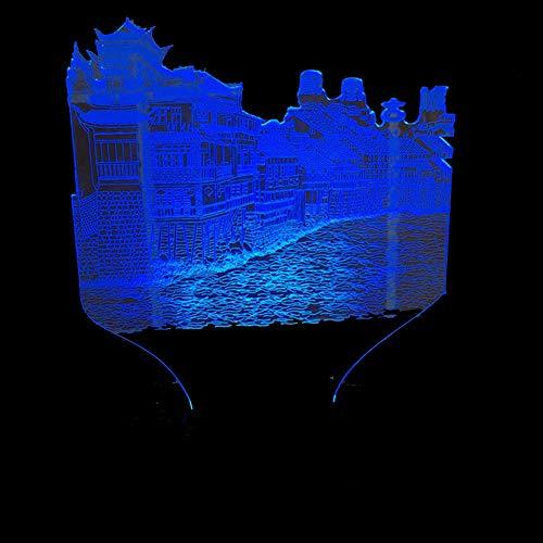 YDBDB Nachtlicht 3D bunte Farbverlauf Schlafzimmer Dekor China historische kulturelle Phoenix Stadt Form Tischlampe Urlaub führte Schlaf Geschenke China Dekor