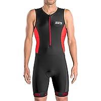 SLS3 Triathlon Einteiler Herren | FRT Trisuit | 2 Taschen | Wettkampf | Frontreißverschluss | Schwarz/Rot