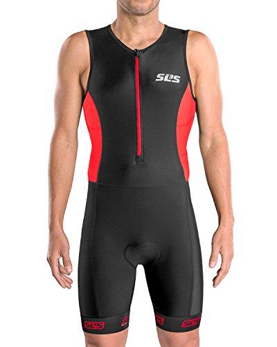 SLS3 Triatlón Tri traje de hombre   2 bolsillo FRT Skinsuit Trisuit   Gran ajuste y cómodo   Alemán diseñado (Black/Red, M)