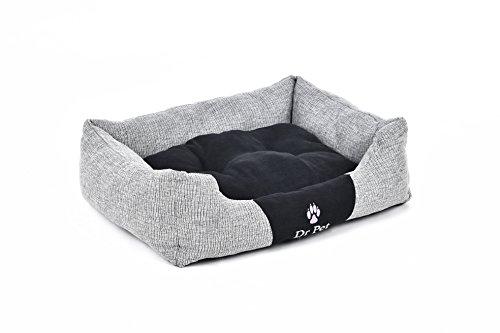 Hundebett Hundekissen Hundekorb Tier Schlafplatz Hund Katze Inkl.Spielzeug (L, Grau/Schwarz) - 4