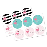 Thank you stickers - 30mm or 60mm diameter - Flamingo designs - 4 designs per pack, great for parties, envelopes, gifts