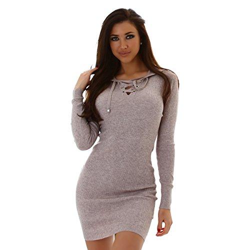 MOEWY Damen Kleid, ein elegnates Feinrippkleid mit Kapuze, Langarm und V-Ausschnitt, Gr. 34-38 Hellbraun