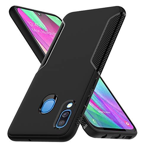 Ferilinso Cover per Samsung Galaxy A40, Fashion Design Cover in Fbra di Carbonio Cover Ibrida Resistente al Graffio Anti Shock Anti-Silicone per Samsung Galaxy A40(Nero)