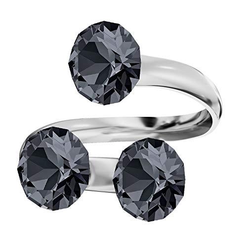Beforya paris, anello triplo xirius, molti colori, elementi swarovski®, in argento sterling 925, misura regolabile anello elegante sheer. pin/75 e argento, colore: argento notte, cod. 7