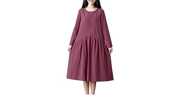 Femme Ethnique Robe Longue en Coton Et Lin à Solid Maxi Longue Plus Size Tunique Boheme Lâche Coton Lin Boho Robes