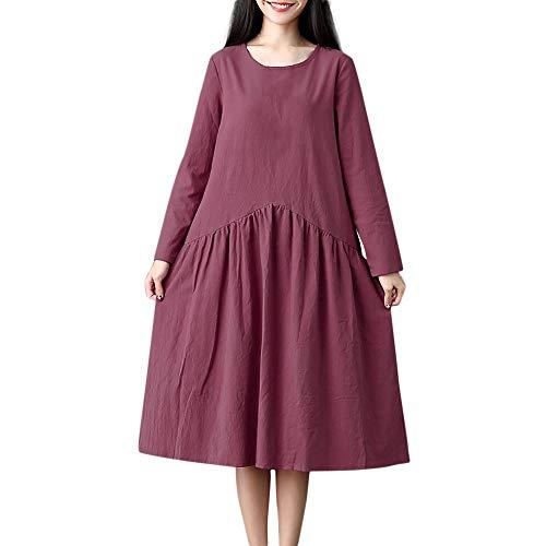 TWIFER Damen Herbst Langarm Solid Stitching Leinen Verlieren Lange Kleider Große Größen