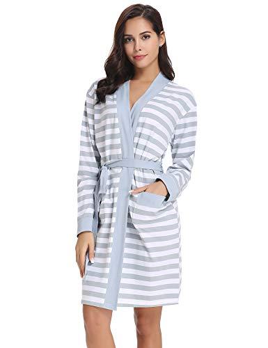 Aibrou Bata Kimono Mujer Invierno Algodón Rayas Pijama