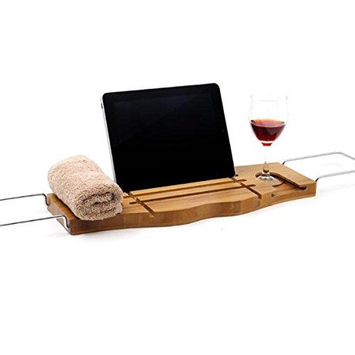 ZHIHUI Badewanne Rack Bambus Bad Caddy Regal mit ausziehbaren Armlehnen, Weinglas Halter, stehen für Ihr Buch, Handtuch, Tablet oder Telefon Badezimmer Handtuch Rack Stehen