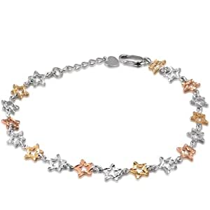"Tri-Color or 14 carats Diamant étoile ouvert Bracelet (6.5 "")"