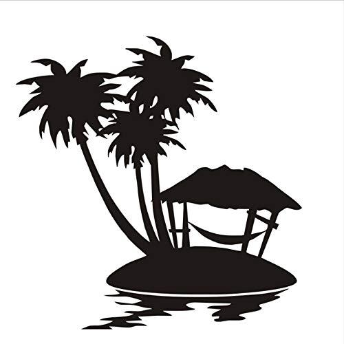 Kleines Haus Und Palm Trees Isle Wandaufkleber Landschaft Wandbild PVC Removable DIY Home Decor Tapete Für Kinderzimmer 58X60 cm (Tree Palm Haus)