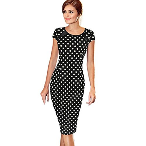 Ba Zha Hei Frauen Bandage Bodycon Kurzarm Sexy Party Cocktail Sleeves Dot Einfarbig Rockabilly Swing Kleider Cocktailkleid Festlich Partykleid Party Club Oberteil Bleistift Minikleid (L, Schwarz) (Gedruckt Verschönert Tunika)