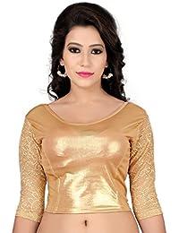 Fressia Fabrics Women'S Cotton Saree Blouse (Golden -Full_Gold_Free Size)