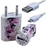 Seluxion - Chargeur maison + allume cigare USB + câble data pour Wiko Iggy avec motif CV14