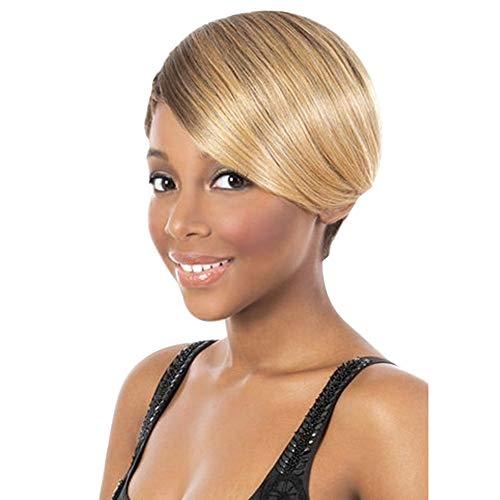 HSHU Perücke Damen Kurze Gerade Brown Gemischte Blondine Fluffy Synthetik Hitzebeständig Mode Frisuren Benutzerdefinierte Cosplay Party Perücken,+ Perückenkappe,25Cm / 9.8Inch