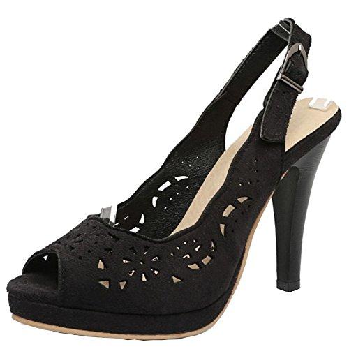 TAOFFEN Damen Fashion Peep-Toe High Trichterabsatz Sommer Sandalen Schwarz