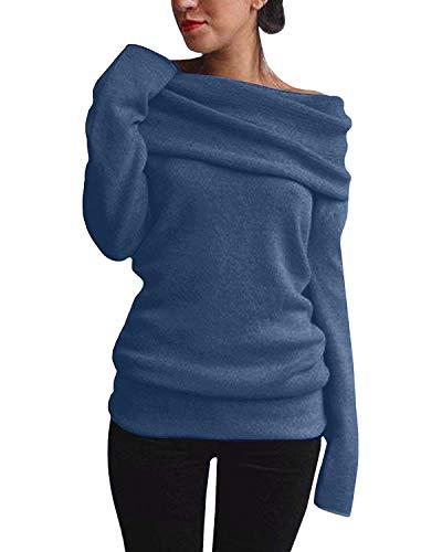Minetom Damen Herbst Winter Sexy Pullover Langarm Off Shoulder Sweater Asymmetrisch Strick Langshirt Bluse Top Tunika Z Dunkelblau DE 36