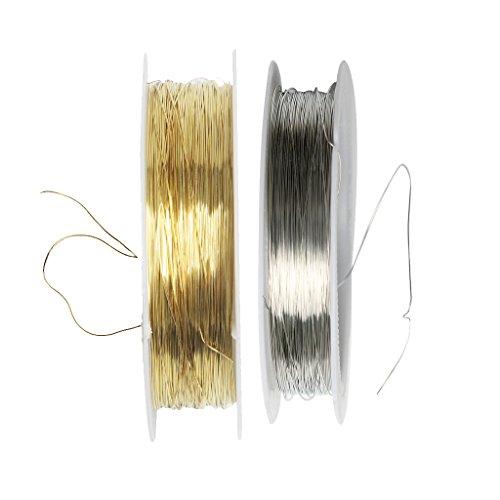 Sharplace 2pcs Rouleau de Fil de Fer Doré+ Argenté pour Bijoux de Cheveux de Mariée Fourniture Artisanale DIY