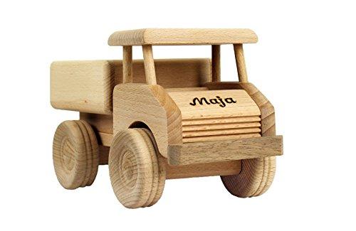 Holz-LKW für Kinder - Spielzeug Lastwagen mit Namen - Gravur - Massives Holzspielzeug, robust & langlebig - Holzauto für Kleinkinder, ein tolles Kindergeschenk