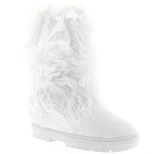 Holly Damen Long Fur Covered Regen Pelz Gefüttert Winter Warm Tall Schnee Stiefel - Weiß - WHI41 AEA0379