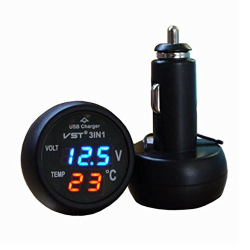 3in1 Digital Voltmeter Thermometer 12 / 24V Zigarettenanzünder USB Car (Blau)