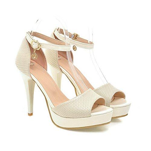 VogueZone009 Damen Hoher Absatz Weiches Material Schnalle Sandalen Mit Hohem Absatz Cremefarben