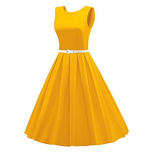 LUOUSE Sommer Damen Ohne Arm Kleid Dress Vintage kleid Junger abendkleid V034-Yellow