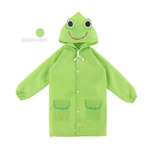 I bambini del fumetto di pioggia incappucciati Giacca impermeabile Poncho indumenti impermeabili per Age 3-8-verde