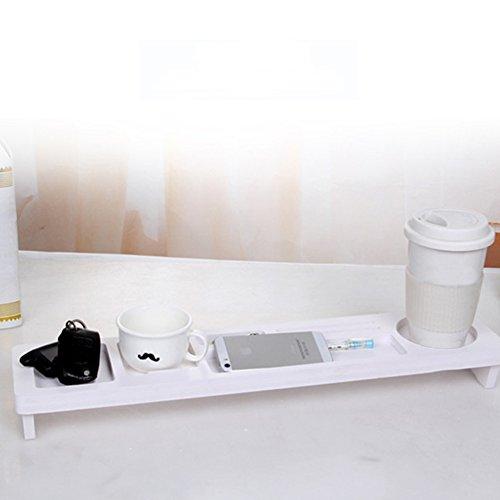 Keyboard-Kommoditätsregal, Holz-Schreibtisch-Organizer für kleine Objekte, Aufbewahrung, ordentliche Ständer, Cradle Table Holder Multifunktions Computer Schreibtisch Zubehör, weiß
