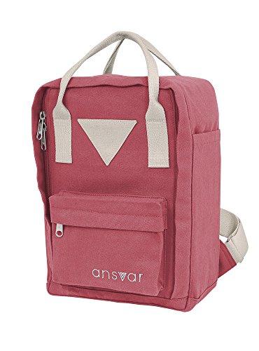 Mini Backpack ansvar IV aus Bio Baumwoll Canvas - Hochwertiger Rucksack aus 100% nachhaltigen Materialien - Wasserabweisend - Der erste Rucksack mit GOTS & Fairtrade Zertifikat, Farbe:altrosa