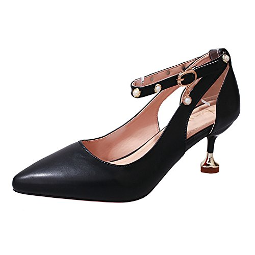 DIMAOL Scarpe Donna PU Molla Comfort Tacchi Stiletto Heel Punta Perla per Il Vestito Beige Marrone Bianco Nero Nero