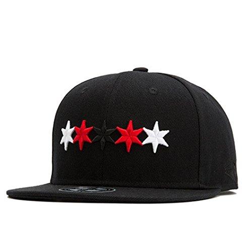 Mode Trends HipHop Fünf Sterne Stickerei Hüte Männer Damen Baseball Kappe Herren Snapback Cap Unisex Freizeit Baseballcaps in Minimalismus Lässig Mütze Sport und Reisen Hirolan (Einstellbar, C) (Mode Snapback Für Herren)