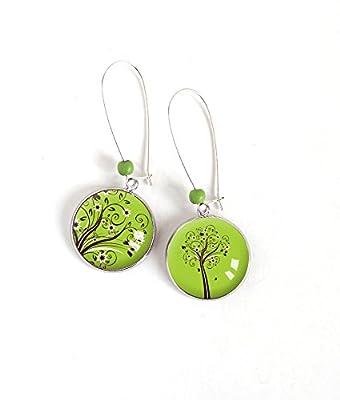 Boucles d'oreilles Cabochon asymétrique, Arbre de Vie, tons vert printemps