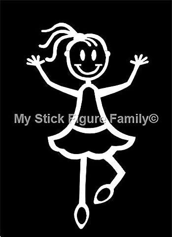 My Stick Figure Family sticker Famille autocollant voiture Petite Fille faisant de la danse, ballet SG1