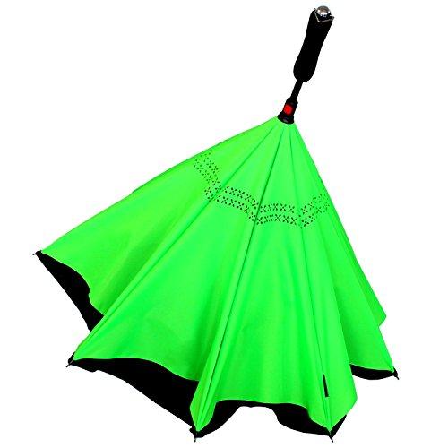 iX-brella Reverse - Regenschirm umgekehrt - umgedreht zu öffnen - schwarz-neon grün