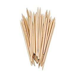 BestOfferBuy 50PCS Two Way Wooden Sticks Cuticle Pusher Remover Nail Art Manicure