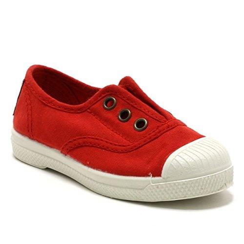 Natural World Chaussures en Coton avec Fond de Caoutchouc Unisex 470502 Rouge Taglia: 21